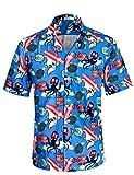 APTRO Herren Hemd Strandhemd Hawaiihemd Kurzarm Urlaub Hemd Freizeit Reise Hemd Party Hemd BT013 XXL