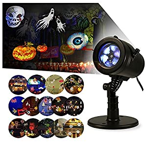 Christmas Light Projector, LED Landscape Projector Waterproof Lamp with 14 pcs Replaceable Slides Snowflake Spotlight Colourful Images Decoration for Christmas, Halloween, Party, Wedding, Garden from CamGO