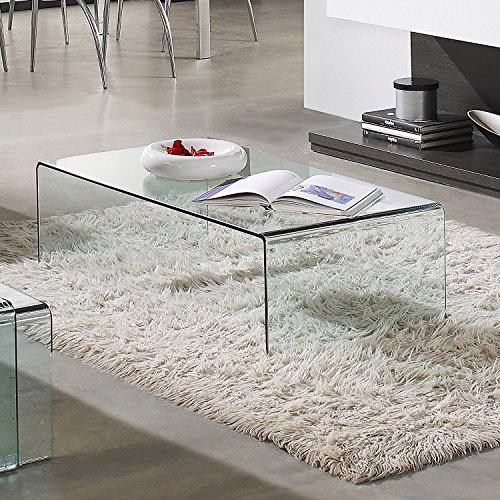 Mesa de centro cristal curvado de una pieza