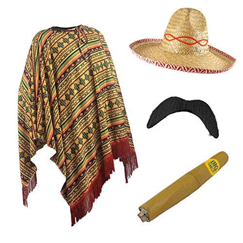 Erwachsene Mexikanischer Poncho Sombrero Junggesellenabschied Do Kostüm Outfit
