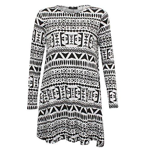 Janisramone Femmes Imprimé à manches longues viscose stretch robe trapèze haut taille 8 - 22 GROS AZTÈQUE
