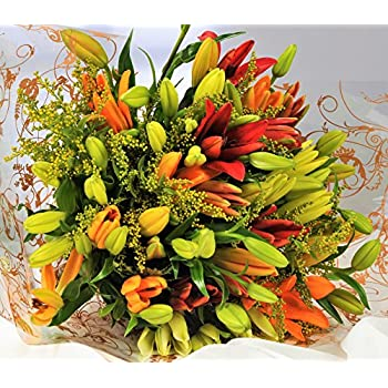 Asiatic Lily Fresh Flower Bouquet - 1hr Delivery TimeSlot - Send Flowers UK with Free Next Day Delivery 7 Days a Week - Luxury Lilies Delivered Gift Wrapped with Your Personal Card Message