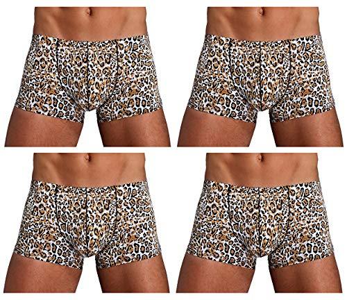 Arjen Kroos Boxershorts Men Herren Sexy Boxer Briefs mit Muster Unterwäsche Männer Trunk Retroshorts Retropants Unterhosen Hipster (Leopard(4er Pack), M(74-82cm)) - Leopard 4