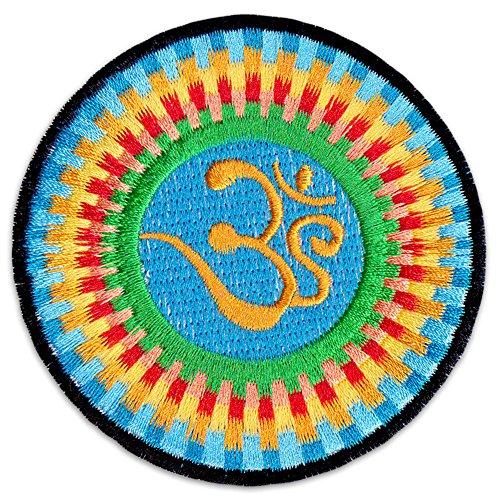 Magie des Aum Aufnäher Aufbügler Patch Hinduismus Buddha Yoga Boho-Chic Om (Klein Blau)