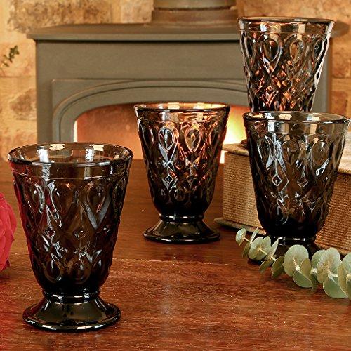 Lot de 6 verres à pied à pied Fumé Gris Gobelet en verre – d'excellente qualité, au lave-vaisselle et au micro-ondes 23 cl