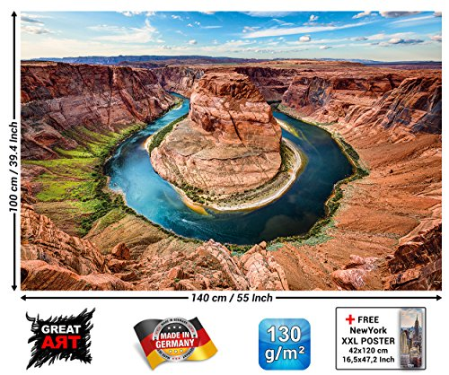 GREAT ART XXL Poster - Horseshoe Bend - Wandbild Dekoration USA Sehenswürdigkeiten Grand Canyon Arizona Colorado River Amerika Schlucht Wandposter Fotoposter Wanddeko Bild (140 x 100 cm) -