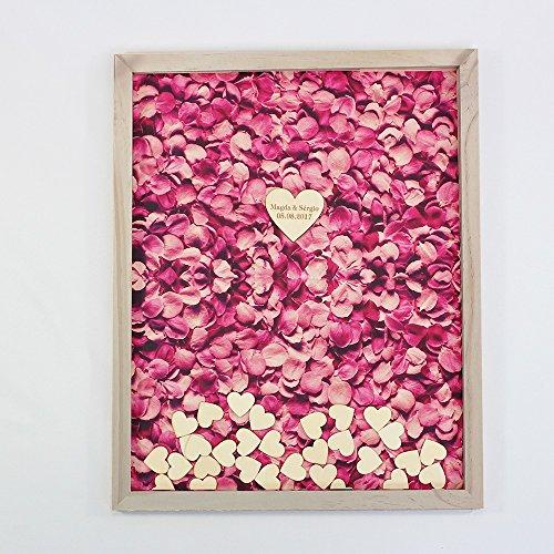 Pink Rose Hochzeit Gästebuch personalisiert Braut und Bräutigam Namen Datum Hochzeit Gästebuch Alternative Herz Drop Holz Rahmen Hochzeit Geschenke 30 x 35 cm with 120 hearts