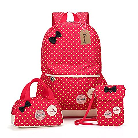 Bcony Set of 3 Cute Dot Lightweight college school Backpacks Kids book bag girls teen Handbag mini Purse/crossbody bag,Red