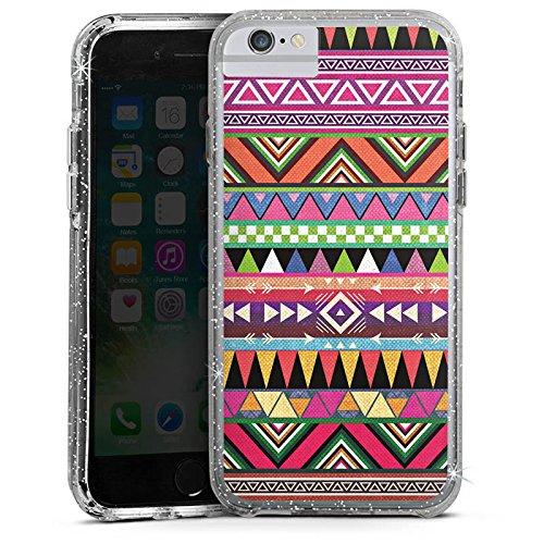 Apple iPhone 7 Bumper Hülle Bumper Case Glitzer Hülle Tribal Bunt Colourful Bumper Case Glitzer silber