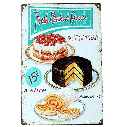 Retro Metal Pastel De Postre Hamburguesa Café Bar Pub Restaurante taberna decoración para pared diseño de signo Vintage Póster de placa 20* 30cm