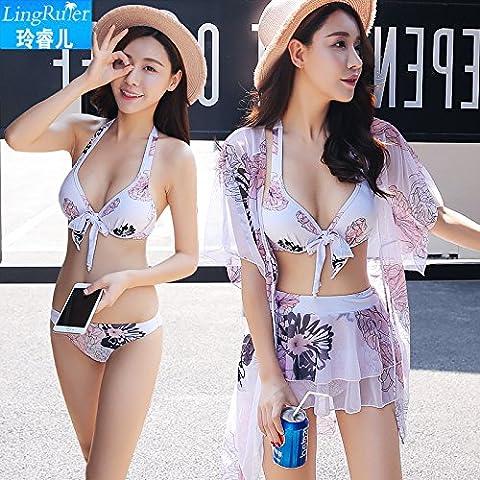 Maillot de bain femme trois Ensembles de bikini Split Jupe Coque ventre en acier support Hot Springs Maillot de bain 1pièce, L, Noir XL blanc