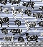 Soimoi Blau Poly Krepp Stoff Schablone Kuh & Schwein Tier