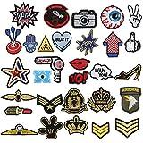 Patch Sticker, Tatuer 30 Piezas Hierro en Parches Pegatina de Parche Costura de Apliques Parche de Bordado para Cute DIY Ropa Chaquetas Mochilas Jeans T-shirt Bolsas (30 Pieces)