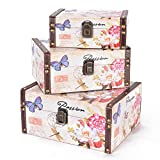 Scrafts Passion Floral 3pcs Set Medium Royal/ Vintage/Designer Wooden/Leather Multi purpose Jewellery/Accessories/Gift/Keepsake/Cosmetics/ Men's Cufflinks/ Tie Clip Clasp/Rings Storage Cabinet/Box/ Organizer/ Trumpet Chest /Container/Case/ Holder for Living Room/Home décor/Bedroom/clothes/towel Big LBH(cms)=24x18.5x12 Medium LBH(cms)=21x15.5x10 Small LBH(cms)=18x13x7
