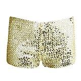 IINIIM Mini Shorts Briefs Boxer Danse Club Femmes Paillettes Flash Pantacourt Pantalons court Soirées Taille Unique (Doré, Taille Libre)