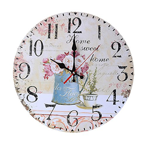 Clode® ⏰⏰ Vintage-Stil Non-Ticking Silent Antique Wood Wanduhr für Home Kitchen Office (B) -