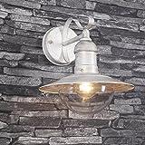 Außenwandleuchte Oslo in Weiß-Gold | Wandlampe mit klarer Kuppel aus Kunststoffglas Ø 15,9cm | Wandleuchte Fassung 1xE27 max 60W