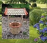 Zierbrunnen, Dekobrunnen, Holzbrunnen, Gartenbrunnen, Brunnen, Handarbeit, Naturholz, Gesamthöhe: 64 cm