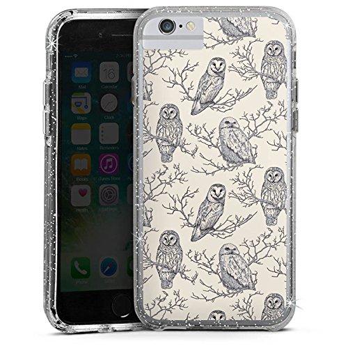 Apple iPhone 6s Bumper Hülle Bumper Case Glitzer Hülle Eulen Wald Forest Bumper Case Glitzer silber