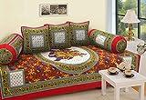 #7: RajasthaniKart 6 Piece 144 TC Cotton Deewan Set - Abstract, Red