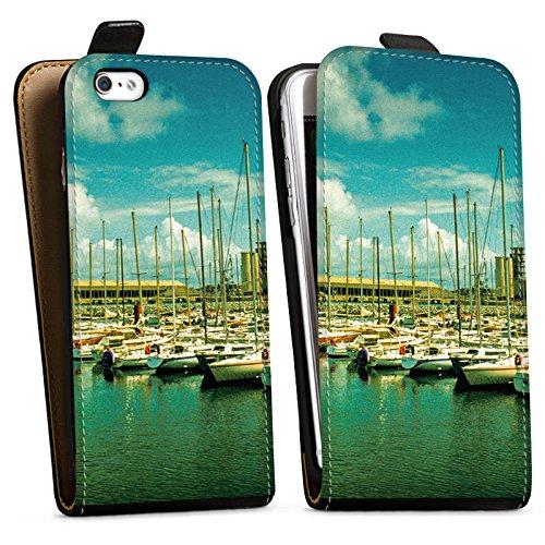Apple iPhone X Silikon Hülle Case Schutzhülle Hafen Boote Schiffe Downflip Tasche schwarz