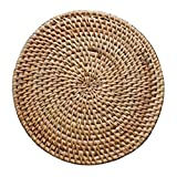 Blancho Bedding Rattan Coasters Pure Natural Rattan Tischset Topflappen, Natural Colour, 20CM