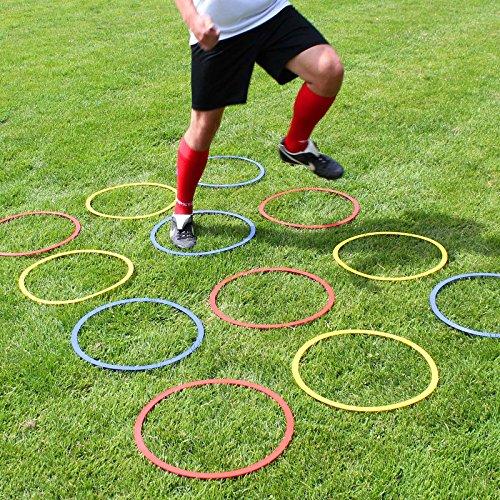 Superspieler24 Koordinationsringe, 12 im Set, Flache Ausführung, für Fußballtraining