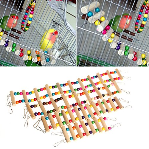 Jiamins 48cm Birds Swing Wooden Bridge Ladder Climb Cockatiel Parakeet Budgie Parrot Pet Toy (Bird Wooden Ladder)