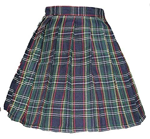 Women`s A-line Pleated Stripe plaid Summer Skirt(XL,Yellow green red stripes )
