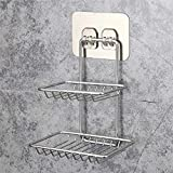 Bathroom soap holder wall mounted double shelf kitchen stainless steel bathroom shelf@White
