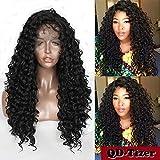 Damen-Perücke von QD-Tizer, 180 % Dichte, sexy gelockt, mit Tresse, schwarz, aus Kunsthaar, für schwarze Damen
