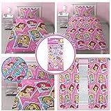 Disney Princess Brave Einzelne Rotary Bettwäsche Set + passende Vorhänge 66 x 54