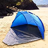 Picture Of Quality Blue Beach Tent And Festival Shelter By UKHobbystore With Closing Door Adult And Childrens SPF40 Sun Protection Screen And WindBreak Fishing Camping And Garden Play Area Shade