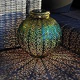 Lanterne Solaire Marocaine - Éclairage LED - Superbe Décoration Inspiration Orientale par Festive Lights (Lanterne Ronde)