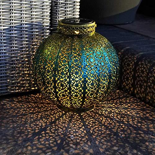 solarbetriebene wetterfeste Outdoor Metall Leuchten - marokkanischer Antik-Stil - inkl. Akku, Solarpaneel, Dämmerungsschalter, von Festive Lights (runde Laterne blau & grüngold)