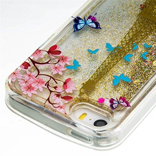 Mk Shop Limited Coque pour iPhone SE, iPhone 5 / 5S Coque,iPhone SE / 5S / 5 Gel 3D Transparent Hourglass Sables Mouvants Liquide Coque Slim Soft Etui Housse, iPhone SE / 5S / 5 Silicone Clear Case TP Multi-couleur 9