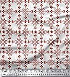 Soimoi Rot Poly Krepp Stoff Damast dekorativ Stoff drucken