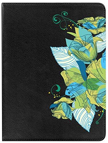 Klappetui für Samsung Galaxy Tab A 10.12016S-Pen Schutzhülle 360Degree drehbar mit Standfunktion, Design Blumenstrauß Blumen türkis (Türkis-blumenstrauß)