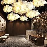 Injuicy Lighting Modernen E27 LED Seide Wolken Pendelleuchte Baumwolle Hängelampe Deckenleuchte Kronleuchter mit 6 Hängenden Lampen Energiesparlampe Schlafzimmer Cafés Restaurants Wohnzimmer Kinderzimmer Innenleuchte Küchenlampe Im Art-Déco (Durchmesser 600mm)