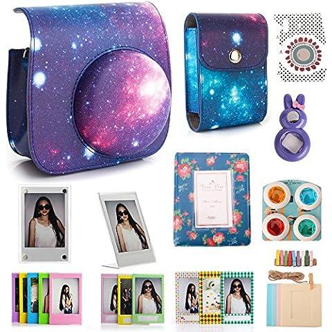 Woodmin Galaxy 12-en-1 Accesorios Bundle Set para Fujifilm Instax Mini cámara de 8 (8 Mini caja / bolso de la foto / Álbumes / Marcos / pegatinas / selfie-Lens / Filtros)