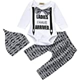Striped Hat Baby Clothes Sets for 0-18 Months Hevoiok Infant Toddler Baby Boys Romper Casual Fashion Letter Print Jumpsuits Striped Pants 3Pcs Outfits