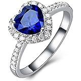 خواتم بتصميم قلب المطلية بالذهب الابيض عيار 14 قيراط للنساء تحتوي على حجر الزركونيا الماسي خواتم الوعد للزفاف، خاتم الخطوبة ل