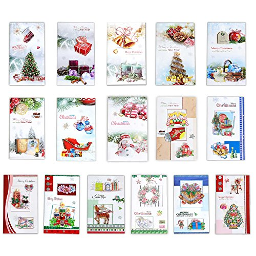 Vinciph Merry Christmas Cards Holiday Cards Pop Up Cards (Set of 16 Assorted with White Envelopes)