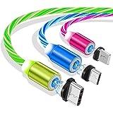 Ruibo Sike - Cavo USB magnetico 3 in 1, 2,4 A ad alta velocità da USB a micro USB. Cavo di ricarica Android con luce a LED Bl