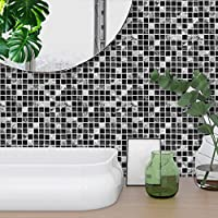 STRIR Decorativos Adhesivos Para Azulejos Pegatina de pared,diseño de Líneas de mármol, efecto 3d, autoadhesivo, Para cuarto de baño y cocina, 20cm*20cm, 10 piezas por paquete (F)