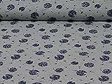 Glünz Bio-Baumwolljersey Pusteblumen, Weiß/Blau (25cm x 160cm)