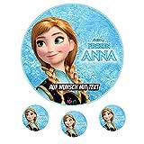 Tortenaufleger Geburtstag Tortenbild Zuckerbild Oblate Motiv: Disney Frozen Anna 02 (Zuckerpapier)