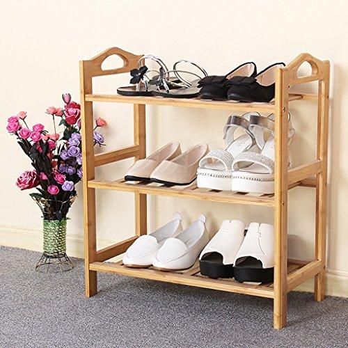 Schuhregal Einfaches Schuhregal dreireihig Haushaltsregal Montage einfache moderne wasserdichte Bambus Schuhregal Multi-Purpose-Regal Schuhregal aus massivem Holz ( größe : 50 cm )