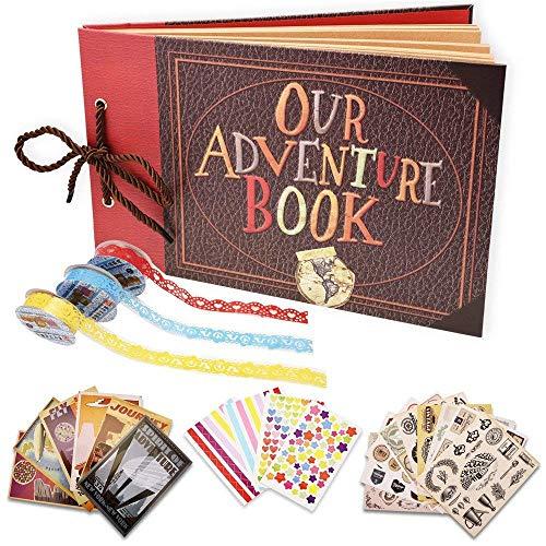 Yango Album de Fotos,Libro de Aventura con Accesoro Maravilloso, Our Adventure Scrapbooking DIY Vintage Aniversario Boda Amigos Novios