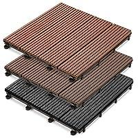 casa pura® 22 x Royal WPC Interlocking Decking Tiles, 30x30cm (2 m²)   Water Resistant, Non-Fading   Anthracite